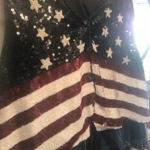 Tops - Vest/ Flag Sequin tie back  3X
